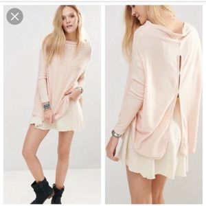 Free People l Pink Ribbed Lovers Split Back Top